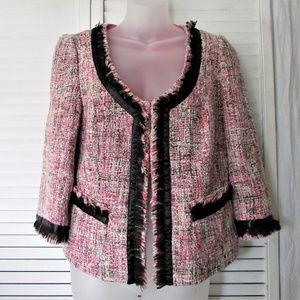 INC multi tweed black trimming jacket M
